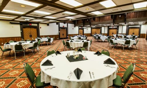 Conference room decorated for reception