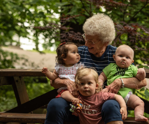 Grandmother with three grandkids