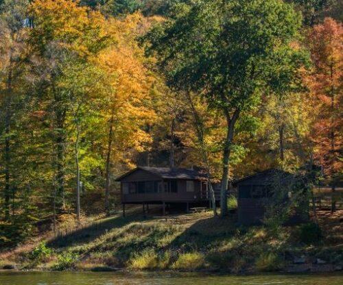 Lakeside Cabin in the Fall