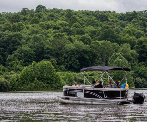 Family on pontoon